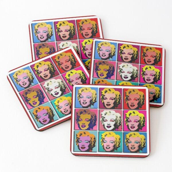 MARILYN ABSTRACT : Art Deco Pop Art Print Coasters (Set of 4)