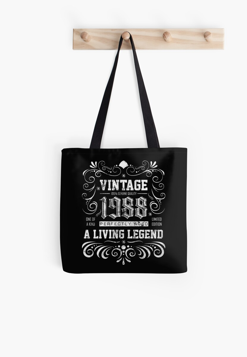 30th Birthday Gift Tote Shopping Cotton Fun Bag Vintage 1988 Aged To Perfection