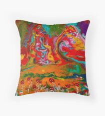 Psychedelic Mushroom Landscape  Throw Pillow