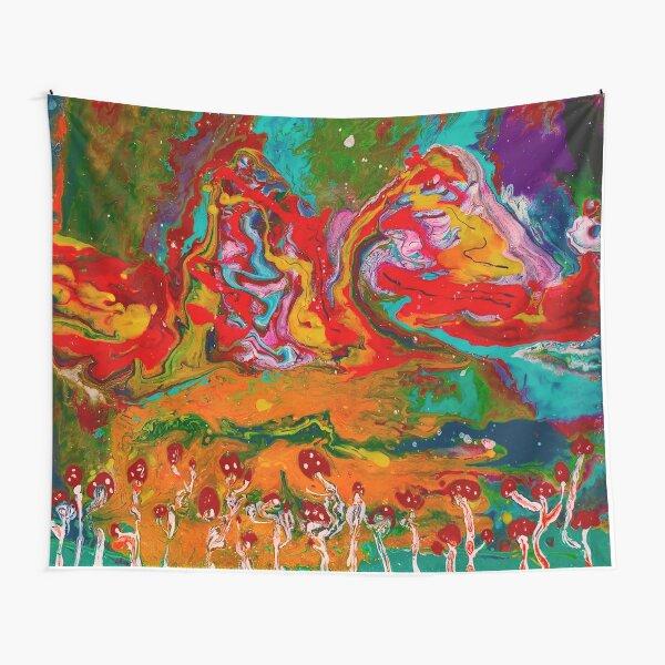 Psychedelic Mushroom Landscape  Tapestry