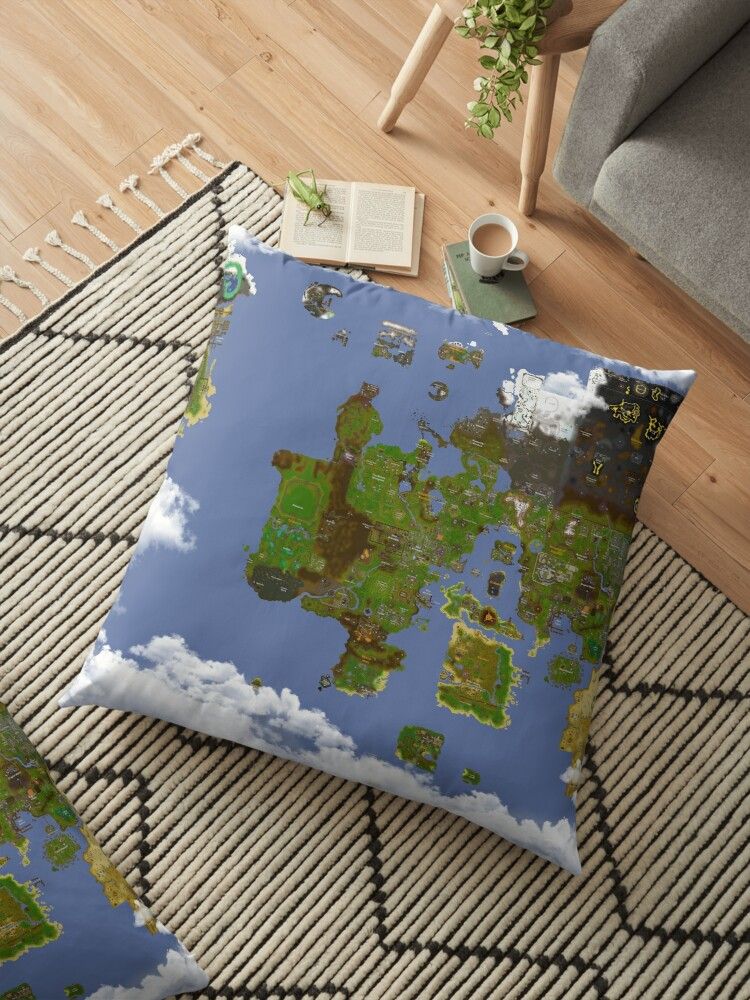 \'OSRS World map\' Floor Pillow by Ben Conod
