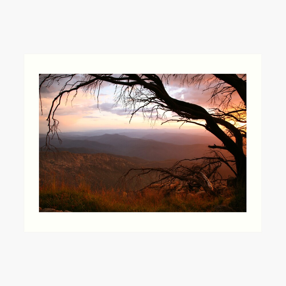 "Sunset view from ""The Horn"" at Mt Buffalo, Australia Art Print"