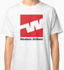 Western Airlines Tshirt - Western Airlines with Tagline - Defunct Airline Tshirt - Western Airlines Shirt White Classic T-Shirt