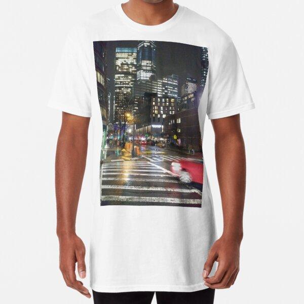 Manhattan, New York, city, Jersey City, view, buildings, water, shore, sky, ✈, plane, skyscrapers Long T-Shirt