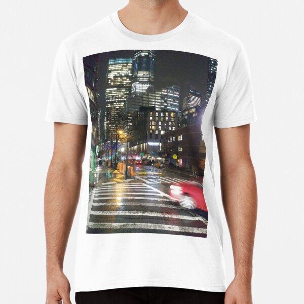 Manhattan, New York, city, Jersey City, view, buildings, water, shore, sky, ✈, plane, skyscrapers Premium T-Shirt