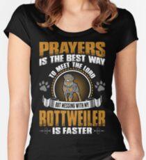Prayers Best Way Meet Lord Messing Rottweiler Fast Women's Fitted Scoop T-Shirt