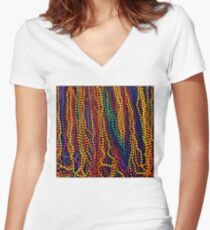 MARDI GRAS :Colorful Beads Print Fitted V-Neck T-Shirt