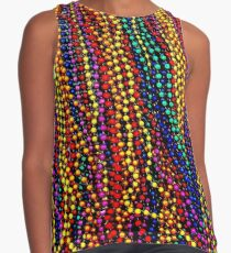 MARDI GRAS :Colorful Beads Print Contrast Tank