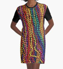 MARDI GRAS :Colorful Beads Print Graphic T-Shirt Dress