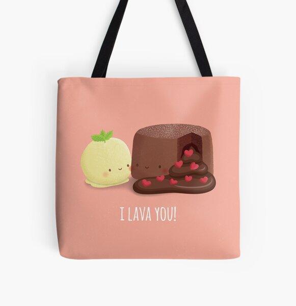 Cute Chocolate Molten Cake I Lava You Pun All Over Print Tote Bag