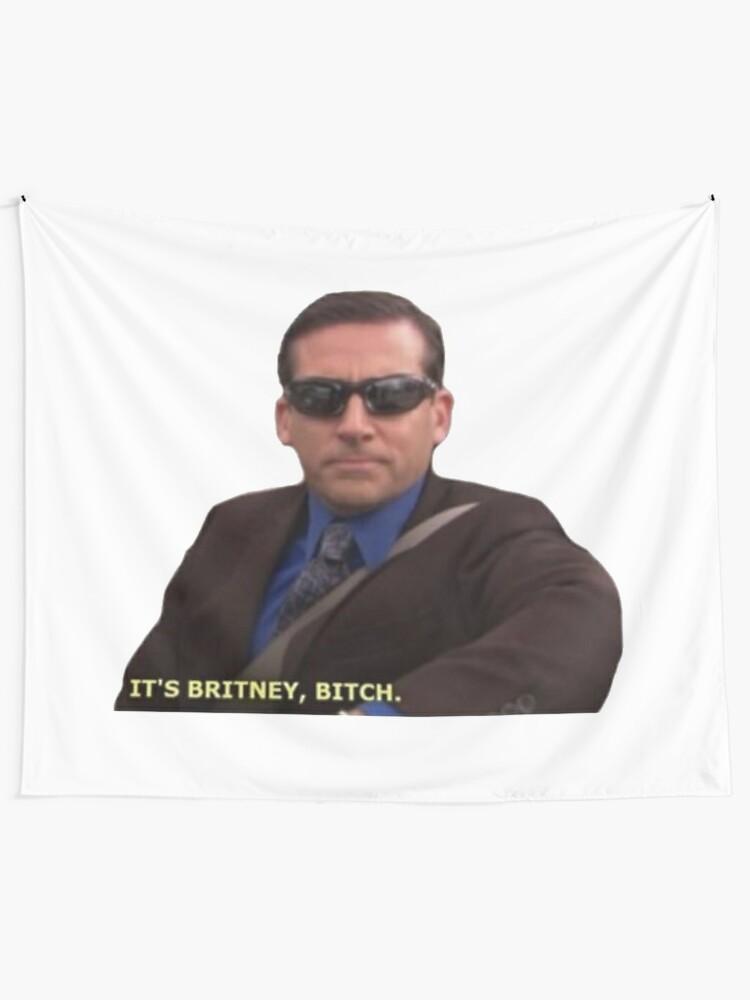 Alternate view of Michael Scott Meme Funny  Tapestry