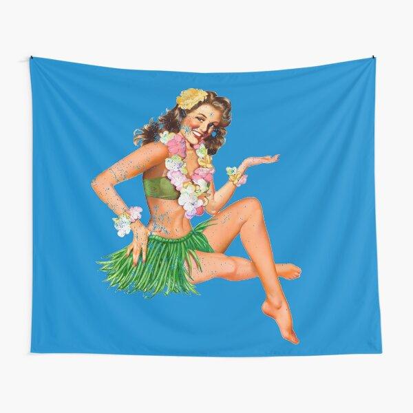 Vintage Hawaiian Hula Girl Tapestry