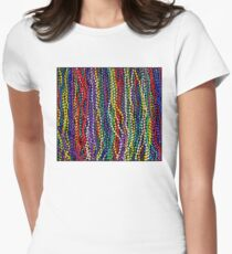 MARDI GRAS : Decorative Necklace Beads Print Fitted T-Shirt