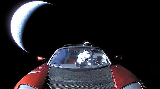 SpaceX's Starman, der die Erde hinterlässt von bobbooo