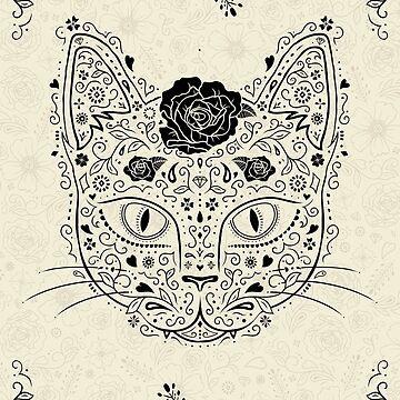 Sugar Skull Cat in Black and Beige by dinafiala