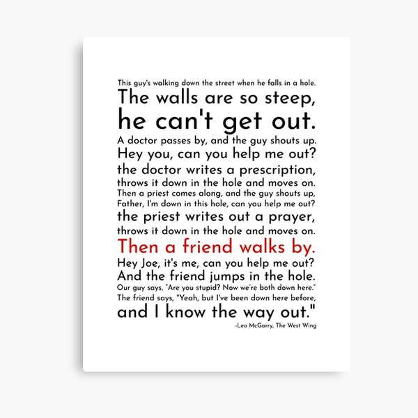 A Guy Falls In a Hole - Leo McGarry Canvas Print