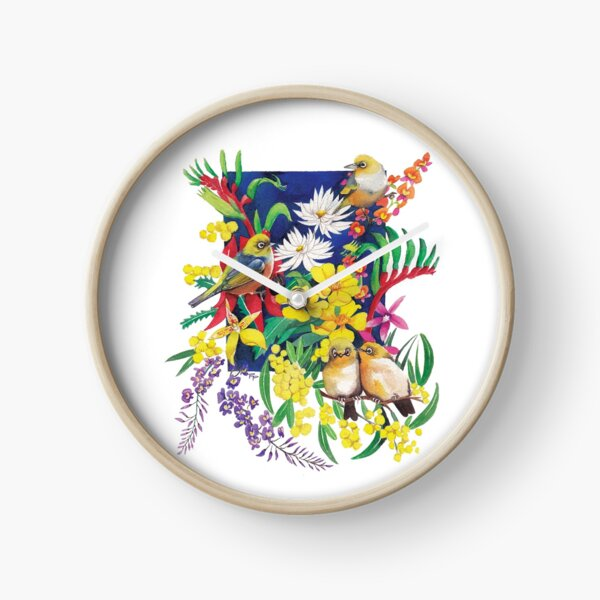 Silvereyes & Flowers Clock