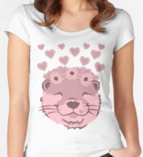 Flower Otter Women's Fitted Scoop T-Shirt