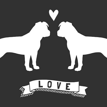 American Staffordshire Terriers in Love by ShortCoffee