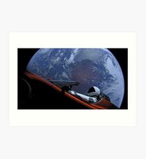 Spacex Driving Around Earth Art Print