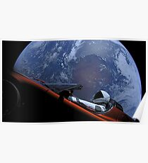 Spacex Driving Around Earth Poster