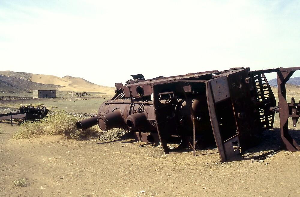 Derelict Turkish engine on Hejaz Railway, Saudi Arabia. by Peter Stephenson
