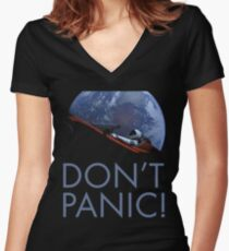 Spacex DON'T PANIC Women's Fitted V-Neck T-Shirt