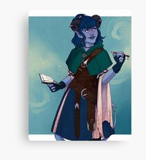 Just a little blue tiefling Canvas Print