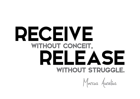 receive without conceit, release without struggle - marcus aurelius by razvandrc