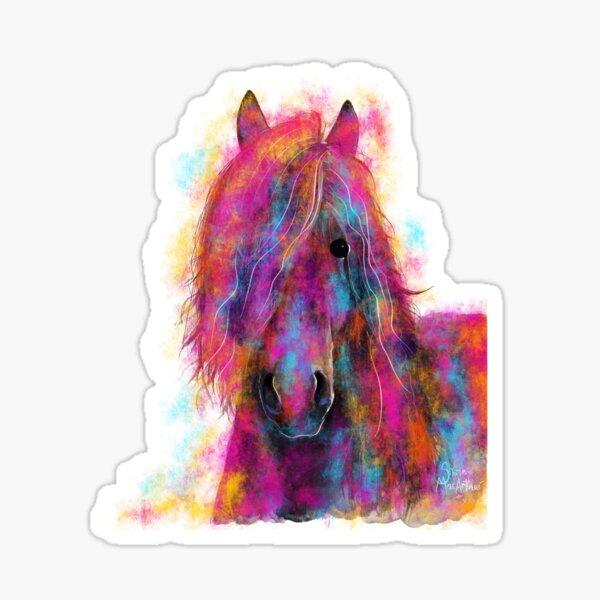 Friesian Horse PRiNT ' FRieSiaN WiLD ' by Shirley MacArthur Sticker