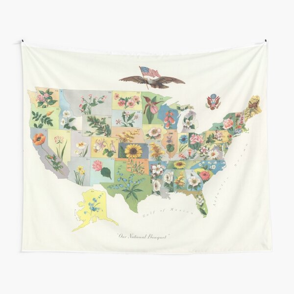 Vintage US State Flower Map (1911) Tapestry