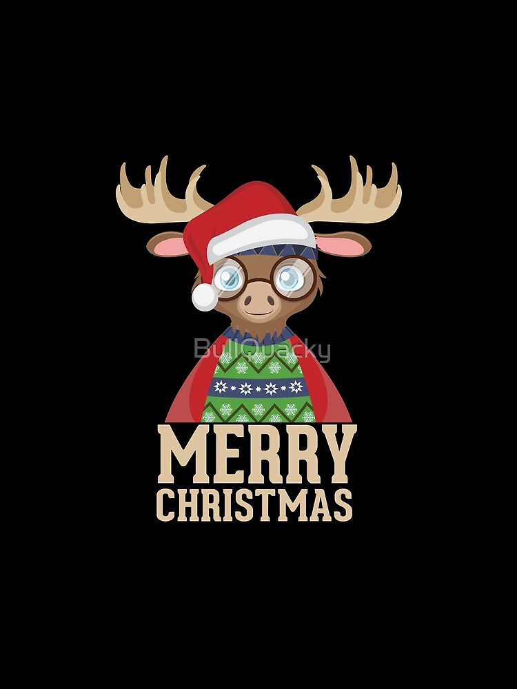 246a1519 Hipster Moose - Santa Hat - Merry Christmas Funny Holiday T Shirt by  BullQuacky. product-preview