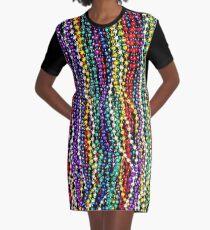 MARDI GRAS : Decorative Necklace Beads Print Graphic T-Shirt Dress
