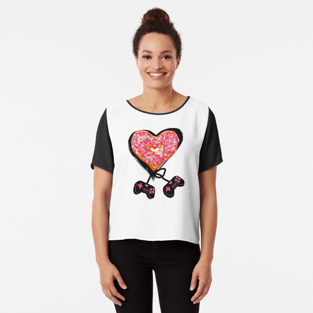 Gaming Console Donut T-Shirt for Donut Lover and Gamer Shirt Gift Chiffon Top