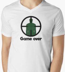 game over gaming gamer gun Men's V-Neck T-Shirt