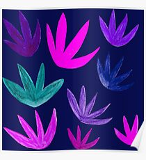 Exotic Floral : Blue/Teal/Pink/Purple on Navy Poster