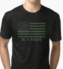 Police K-9 Unit OD Green American Flag K9 Officer Tri-blend T-Shirt