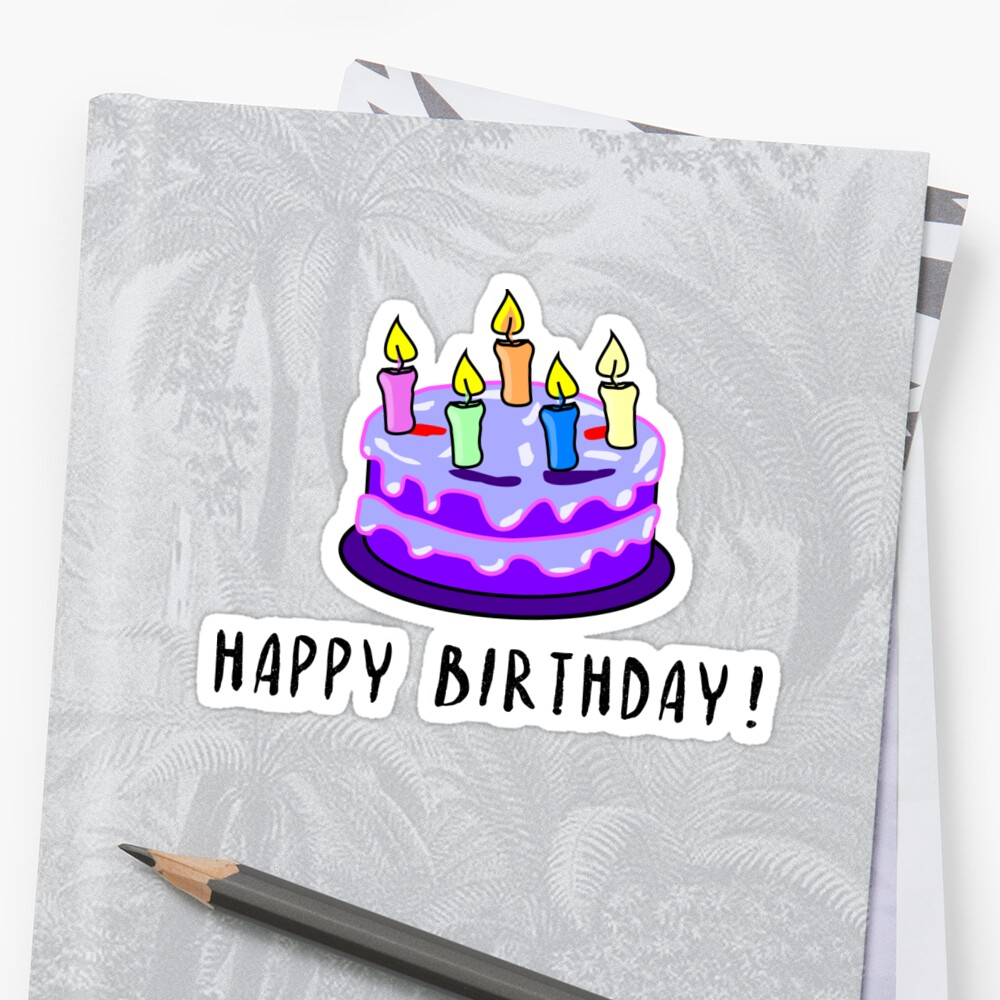 Happy Birthday Cake Pie Gift Sticker