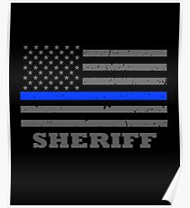 Sheriffs Office Thin Blue Line Flag  Poster