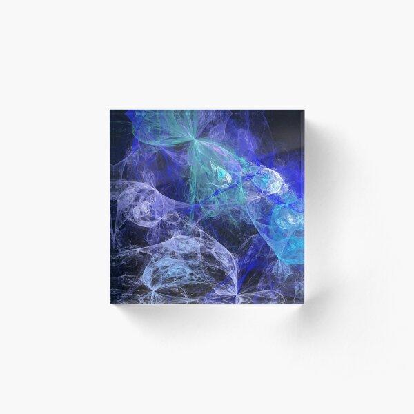 Fraktal in Blau Acrylblock