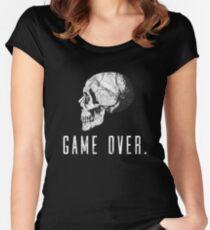 Game Over Skull Gamer Life Gift Motif Women's Fitted Scoop T-Shirt
