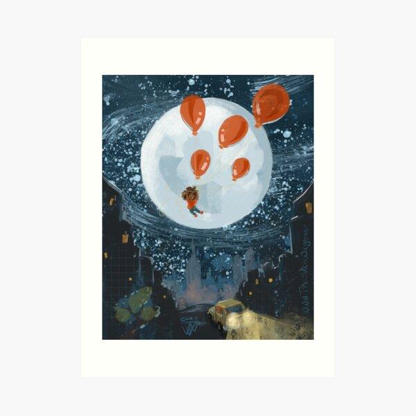 Balloon Lift Off 7, Moon Balloons Art Print
