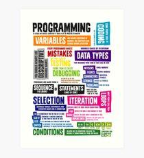 Programmierung Coding Key Vocabulary Literacy und Definitionen Kunstdruck