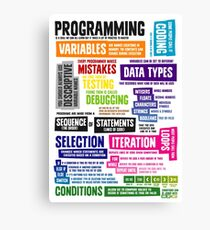 Programming Coding Key Vocabulary Literacy and Definitions Canvas Print