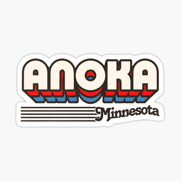 Anoka, Minnesota   Retro Stripes Sticker