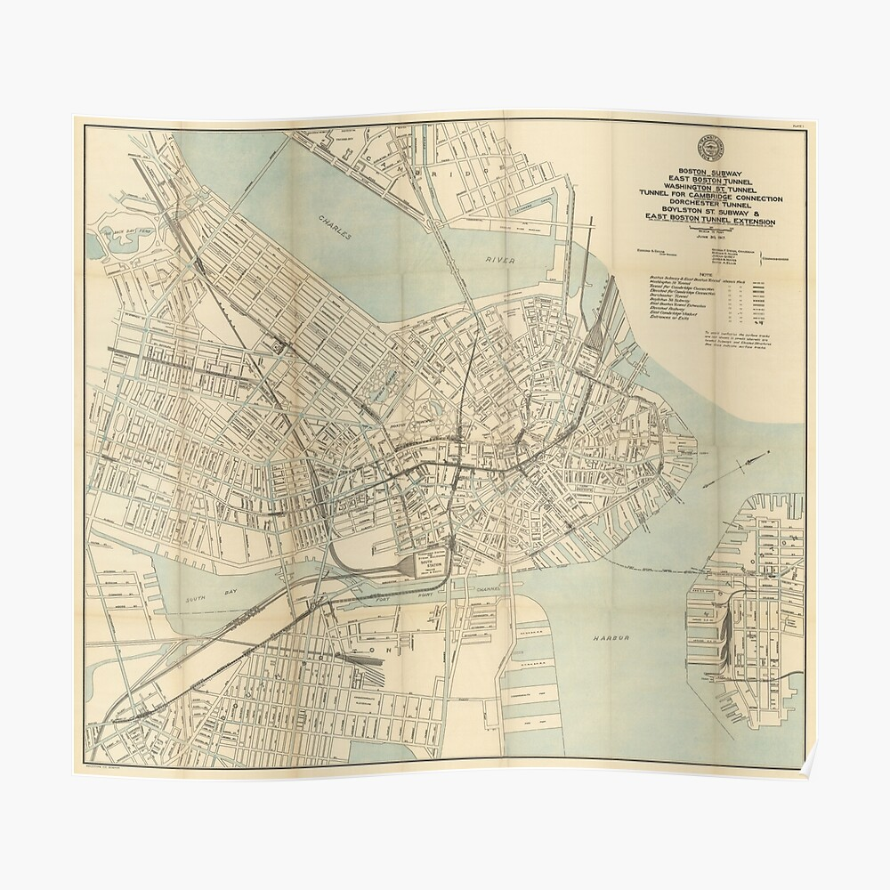 Boston Subway Map Poster.Vintage Downtown Boston Subway Map 1917 Poster