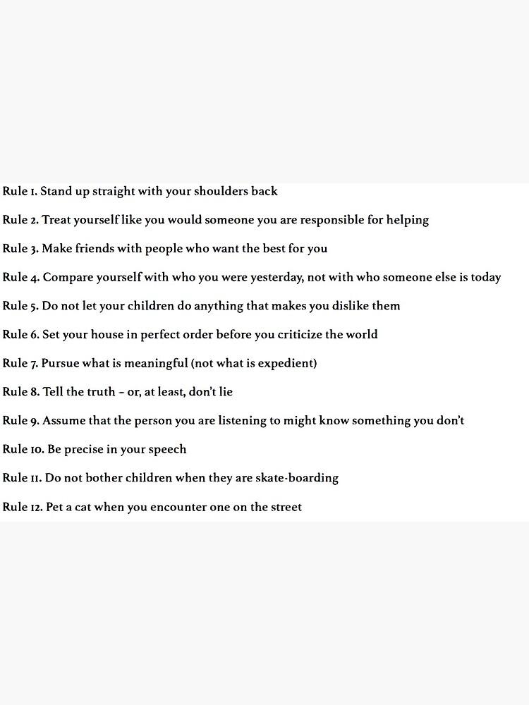 Caucho corto Autocomplacencia  Tarjetas de felicitación «Jordan Peterson 12 reglas para la vida» de  lauragfarb   Redbubble
