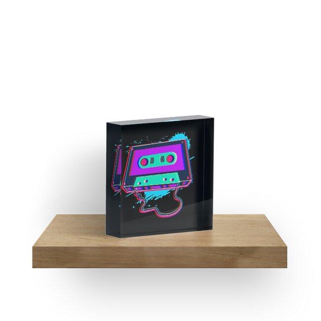 71492f60 80s Music Cassette Tape : 3D, Neon, 80s songs T Shirt