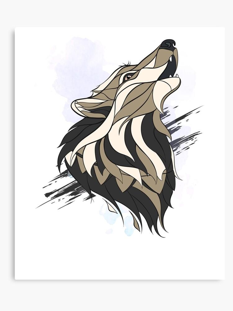 Howling Wolf Art Howlin Wolf Wolf Abstract Graphic Design Custom Shirt Gift Shirt Canvas Print