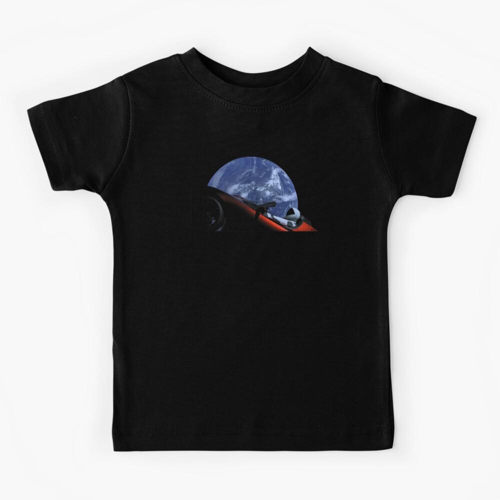 Starman in Tesla Roadster in Space Kids T-Shirt